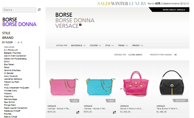 Offerte Borse donna Versace: lusso a poco